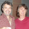Pianist Bryan Pezzone (left) and guitarist John Goux; LAZYBONES sessions.